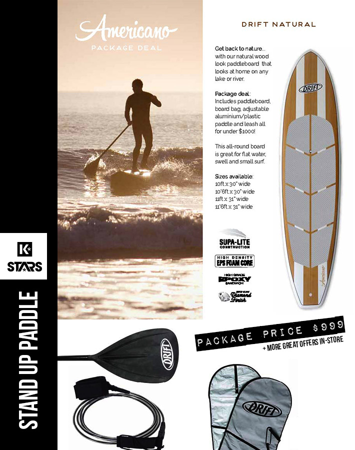 Natural Americano SUP Package only $999