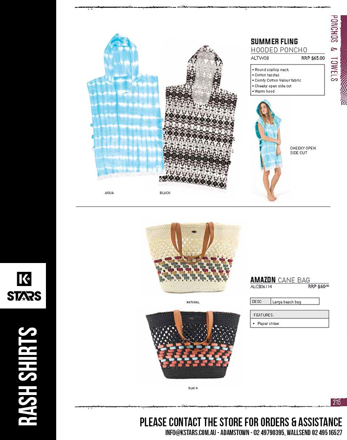 Rashies, Ponchos & Towels - more styles available in-store...